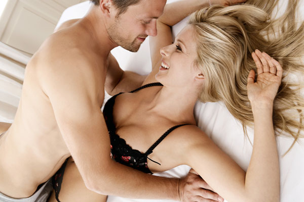 attractive couple about to have sex