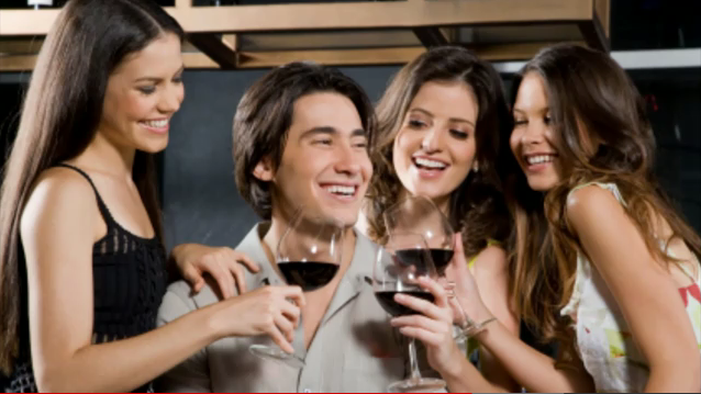 man with three women